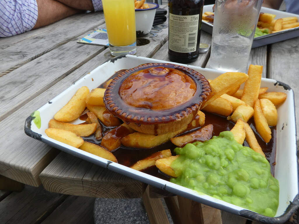 Lancashire Cheese Pie with chips, mushy peas and gravy, Holmes Mill