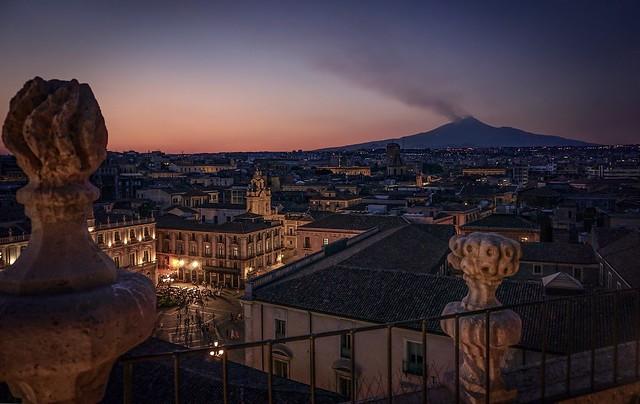 Piazza Università with Etna in the background, Catania, Sicily