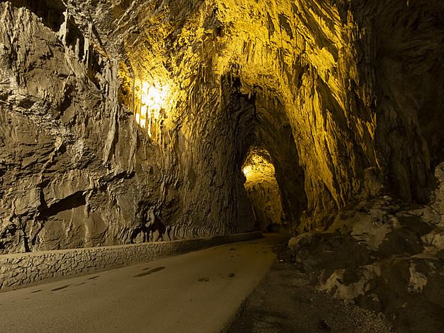 Driving through a cave