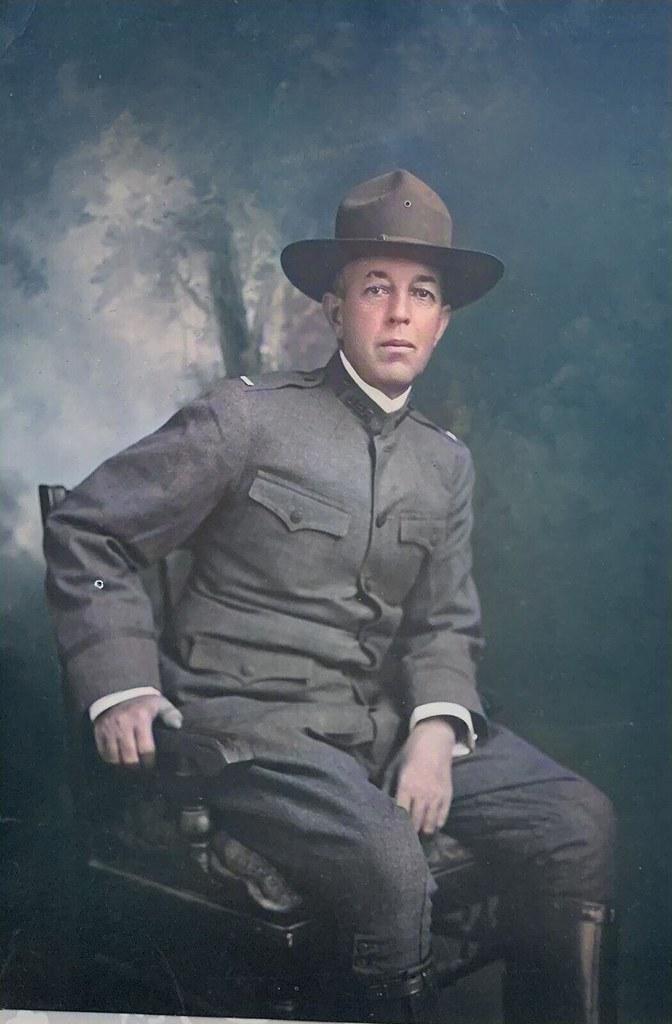WWI US SOLDIER PHOTO PORTRAIT, colorized by Ahmet Asar