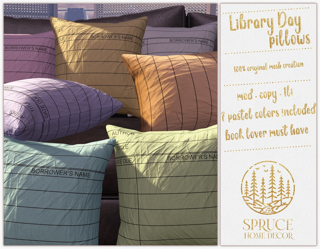.spruce. library day pillows {bolds}
