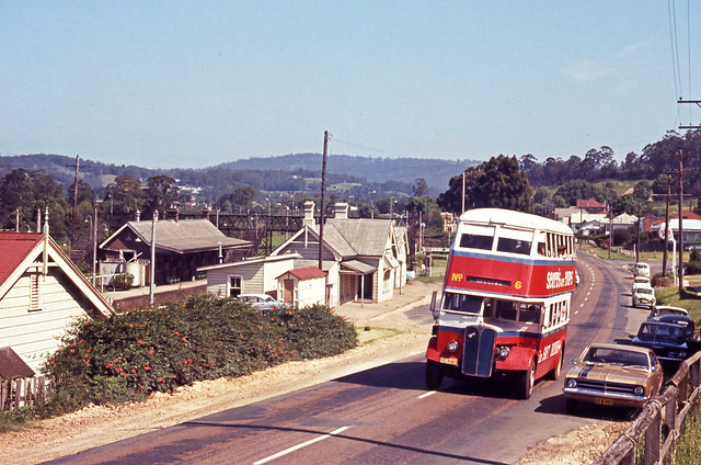 I.D. No. 15867 (1110) photographed on the date of 1970-12-01 of Rover Motors AEC Regent MO-4682 passing the railway station Pacific Highway Ourimbah, N.S.W., Australia.