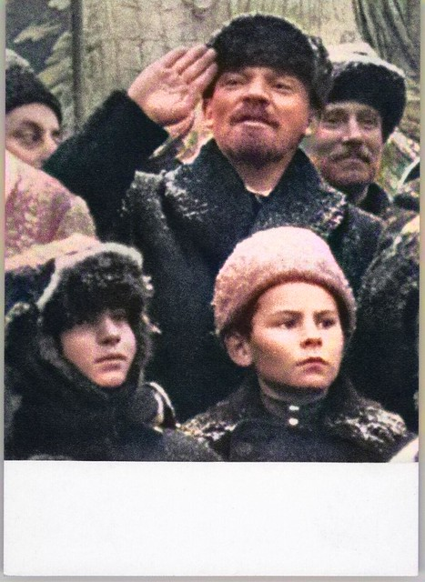 LENIN in Red Square with Kids Propaganda USSR Russian Postcard, colorized by Ahmet Asar