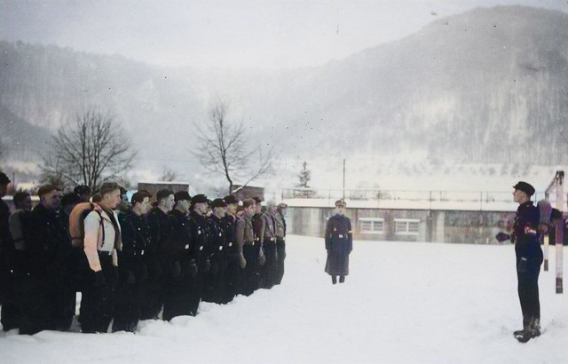 Lead camp of the Hitler Youth in Saxony, 1930s, colorized by Ahmet Asar