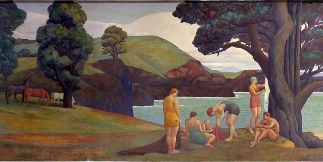 """Roosevelt School """"Land"""", 1935, New Deal Mural"""