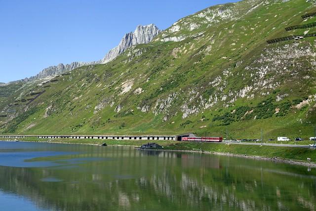 MGB Deh 4/4 Nr. 22 St Niklaus at the Oberalp Pass with a train towards Andermatt