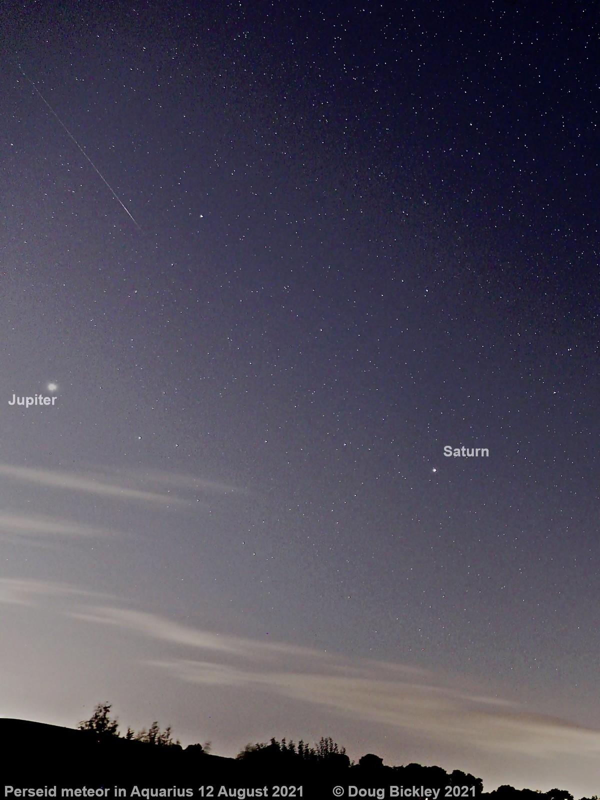 Perseid meteor 12 Aug 2021 in Aquarius
