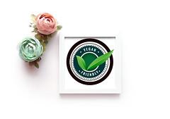 vegan friendly leaves label in green color