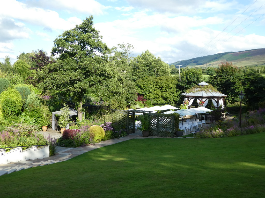 Views from the terrace of the Gibbon Bridge Hotel, Chipping