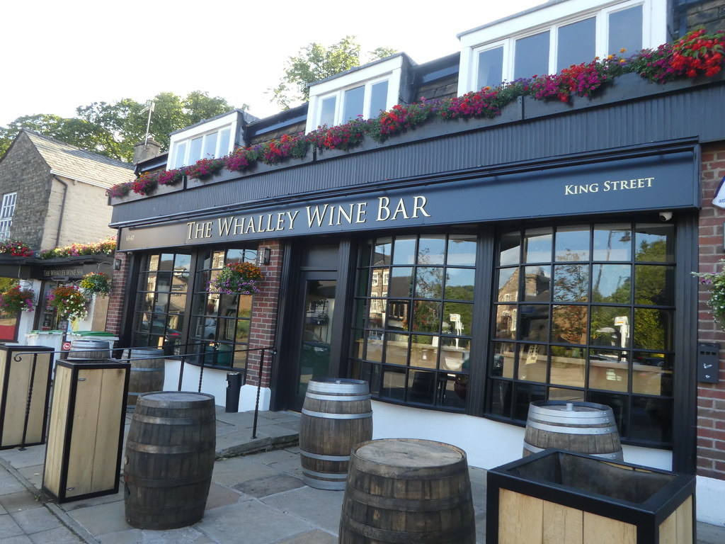 Upscale shops and wine bars in the charming town of Whalley