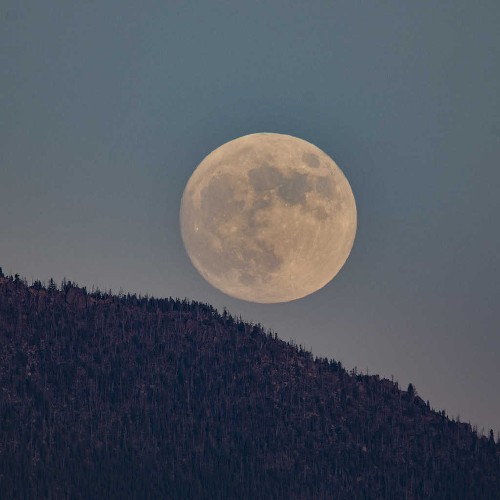 full moon rising from Butte