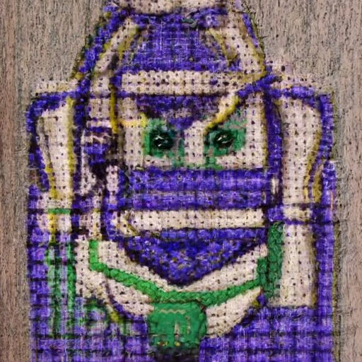 'a cross stitch of Buzz Lightyear' CLIP Guided Diffusion v4 Text-to-Image