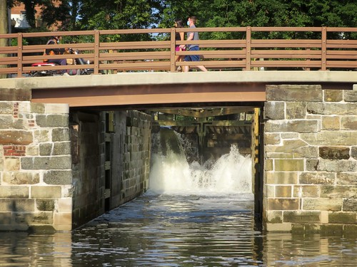 Water rushes through locks …