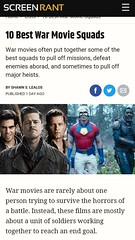 ScreenRant: 10 Best War Movie Squads