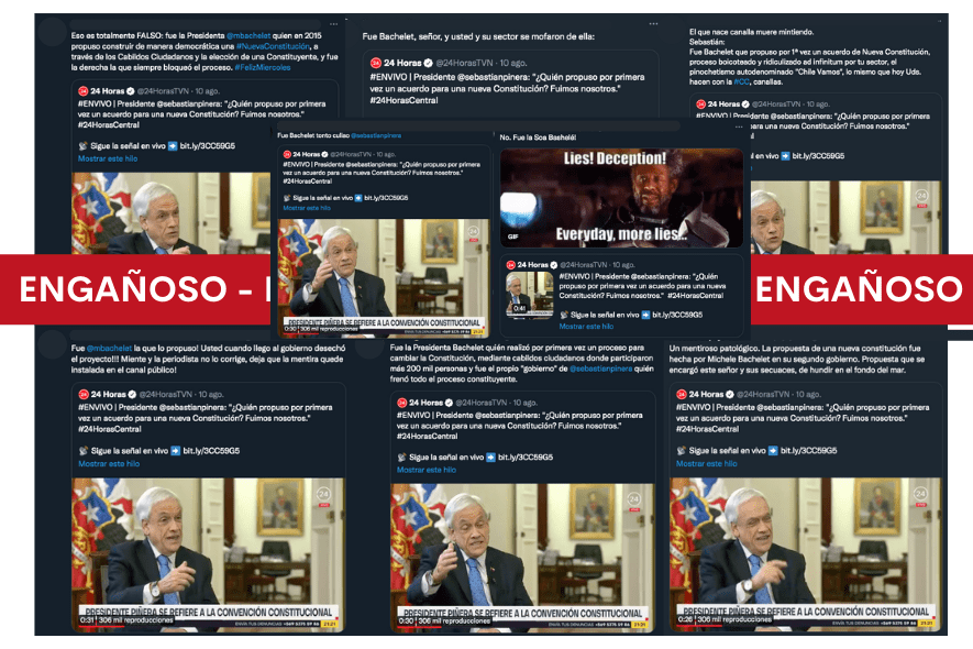 Es engañosa la interpretación que se le dio a tuit de 24 horas en el que se cita al Presidente Piñera decir que fueron los primeros en proponer un acuerdo para una nueva Constitución