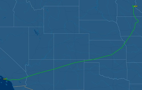 An interesting flight path from LAX to MSP