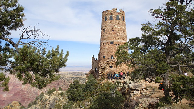 Arizona - Grand Canyon: Desert View Watchtower , a 70-foot / 21 m - high stone building @East Rim Drive