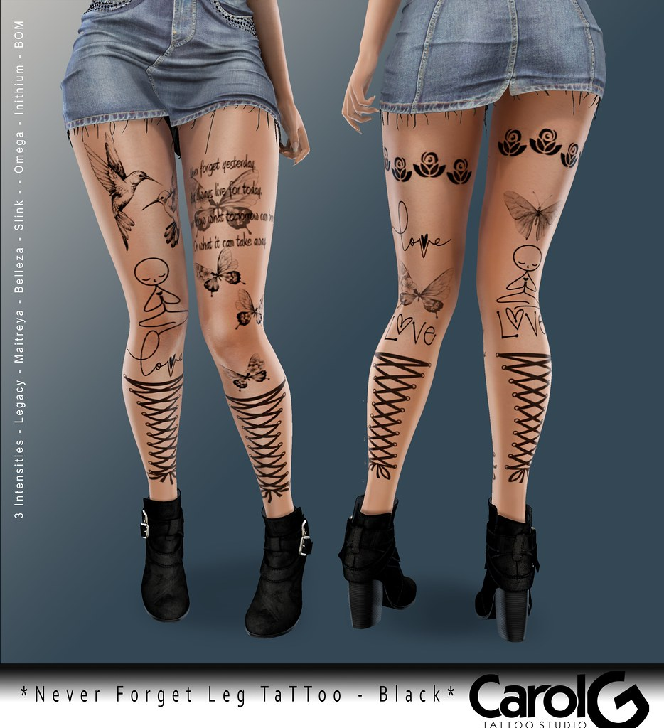 Never Forget Leg TaTToo – Black [CAROL G]