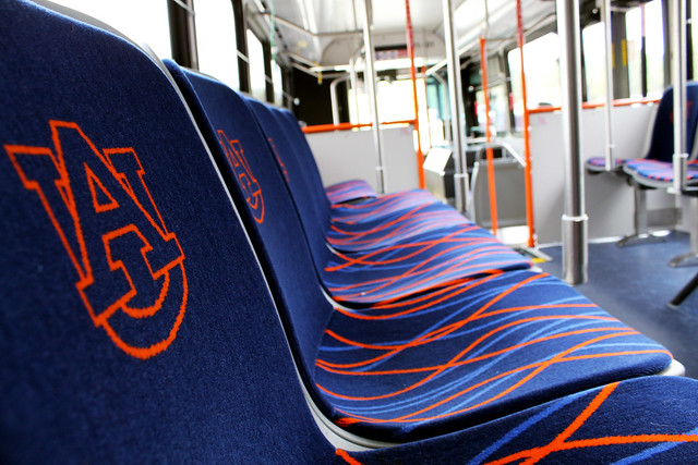Seats in the new Tiger Transit buses.