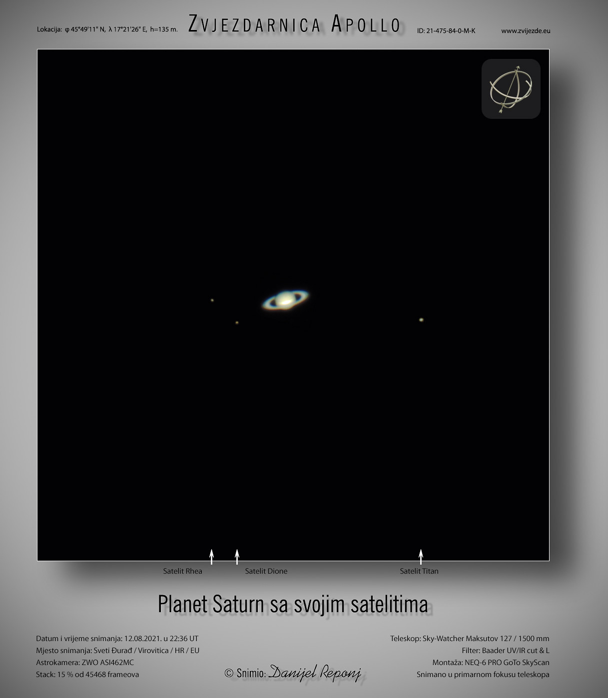 Planet Saturn i njegovi sateliti, 12.8.2021.
