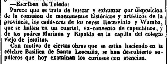 Noticia de la excavación de la cripta del Convento de Capuchinos en busca de los huesos de Wamba y Recesvinto. El Heraldo, 12 de febrero de 1945