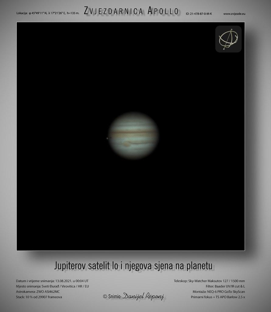Jupiterov satelit Io i njegova sjena, 13.8.2021.