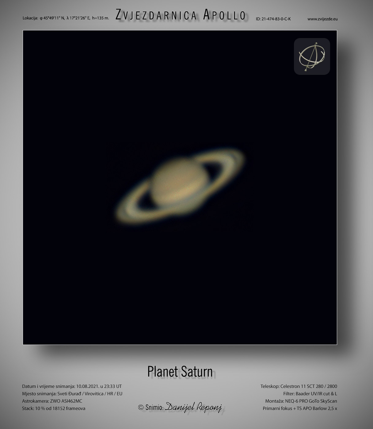 Planet Saturn, 10.8.2021.