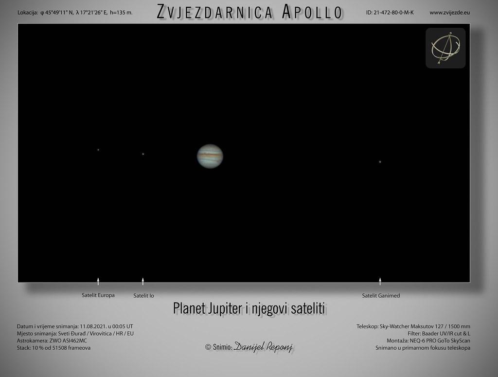 Jupiter i sateliti, 11.8.2021.