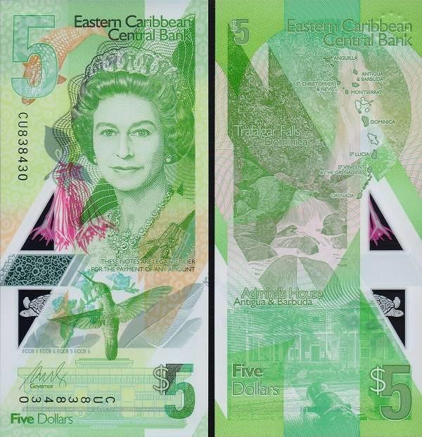 5 Dolárov Východný Karibik 202, P56 polymer