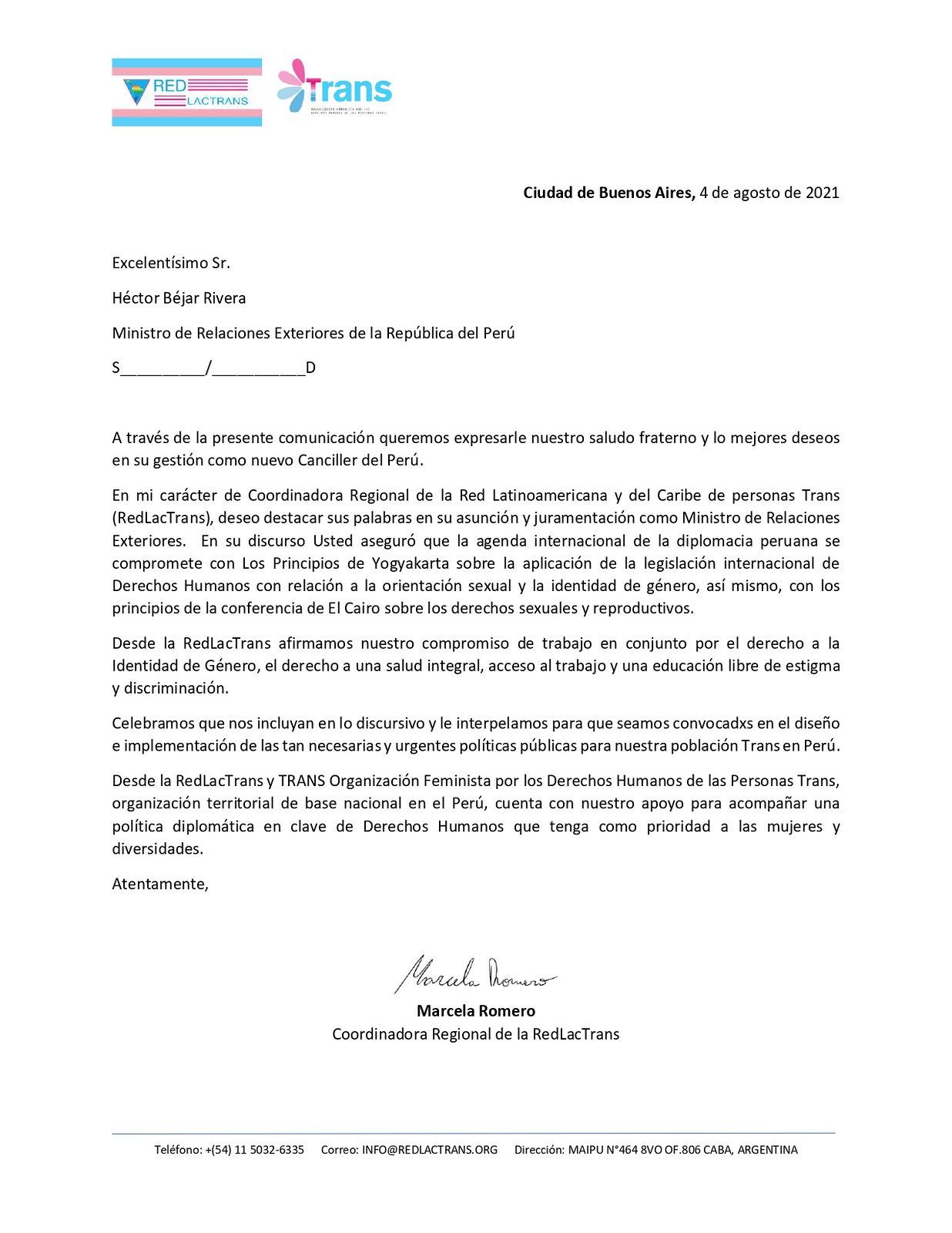 Carta a canciller de Perú
