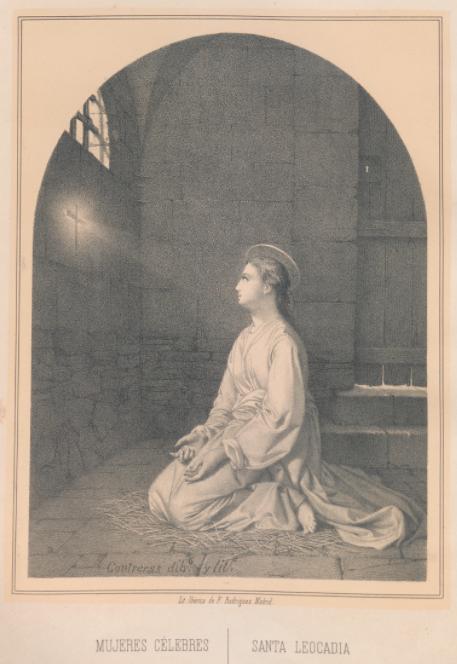 Santa Leocadia en su cárcel. Litografía del siglo XIX