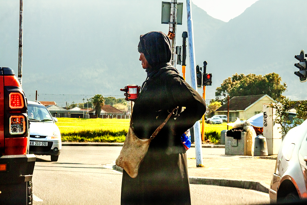 Beggar at intersection on 8-23-21--Cape Town