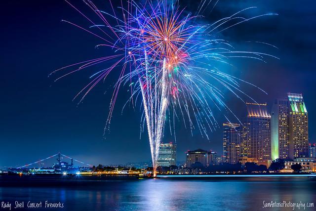 Fireworks over the downtown San Diego skyline