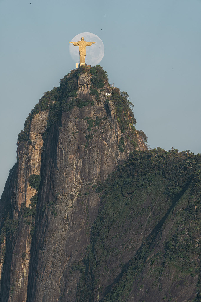 Full Moon behind the Christ the Redeemer statue