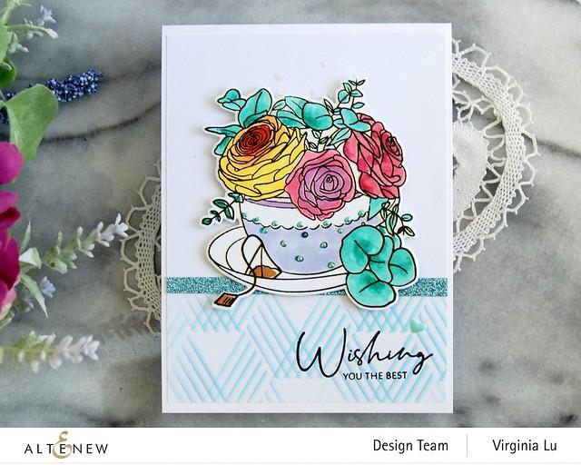 Altenew-Rose Tea Stamp -Rose Tea Die-Hexagon Illusions Stencil-Ocean Reflection Glitter Card Stock-002