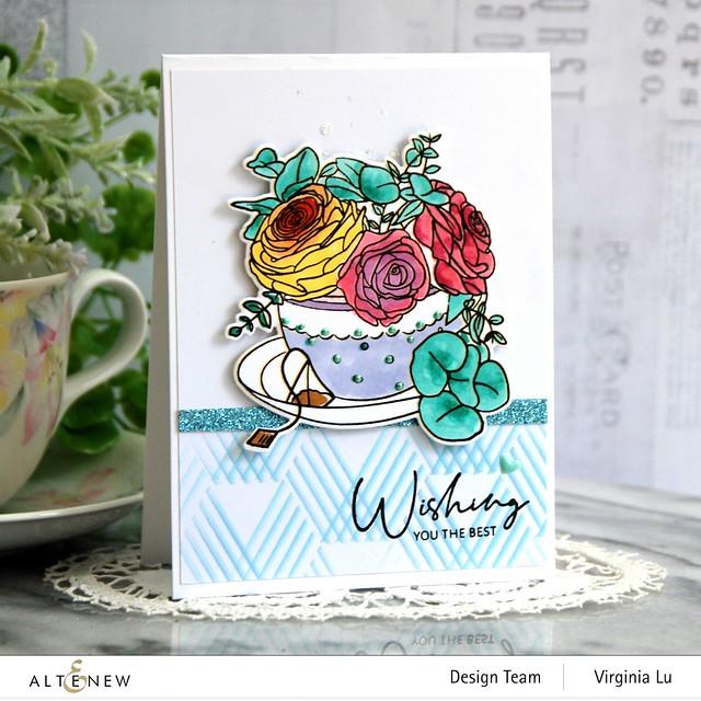 Altenew-Rose Tea Stamp -Rose Tea Die-Hexagon Illusions Stencil-Ocean Reflection Glitter Card Stock
