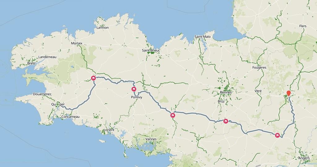 Carte du trajet Quimper - Laval