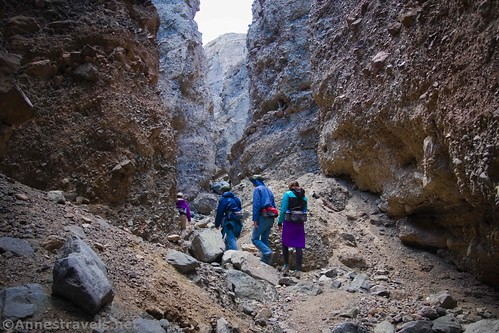 Hiking through Slot 2 off of Sidewinder Canyon, Death Valley National Park, California