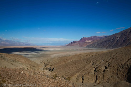 Views of lower Sidewinder Canyon and Badwater Flats from above Slot 3, Death Valley National Park, California