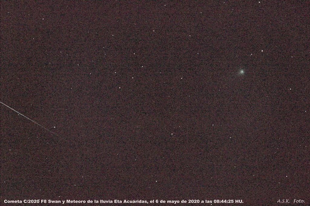 Cometa C/2020 F8 Swan y Meteoro de la lluvia Eta Acuarida.