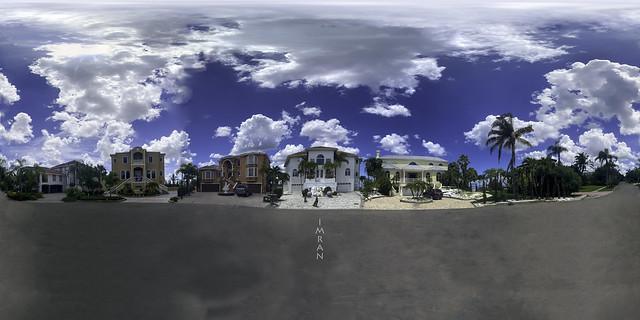 Beautiful Brilliant Blue Super Stunning Sky Wonderful White Wool Clouds Cover Cul-de-Sac -IMRAN™-(360°x360°)