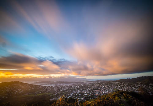 <p>Central Wellington waking up to a pretty if fleeting sunrise.</p>