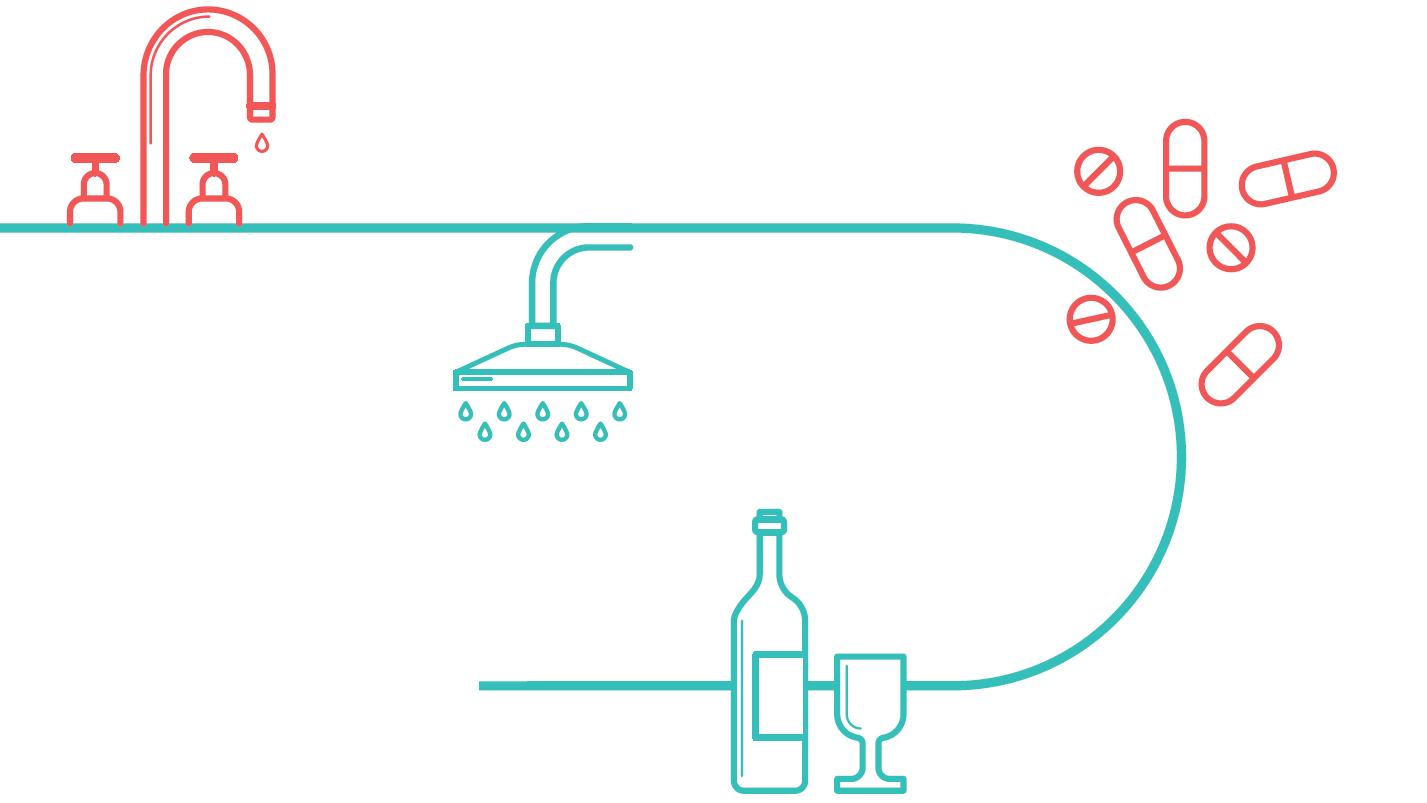 line drawing of sink, prescription medication and wine bottle