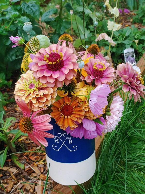 Bouquet: Queen Lime (orange & red) zinnia, salsa mix echinacea, sensation mix cosmos, peony duchess apricot asters