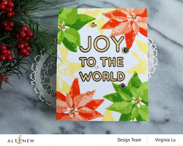 Altenew-DryBrush Poinsettia Stamp Set-Bird of The Woods Stamp & Die Bundle-Forest Canopy Glitter CardStock-Joy to the World Typography Stamp Set-003