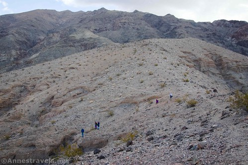 Scrambling back down toward the top of Slot 5 - the hill in the center of the photo is the one we climbed for the great views.  Sidewinder Canyon, Death Valley National Park, California