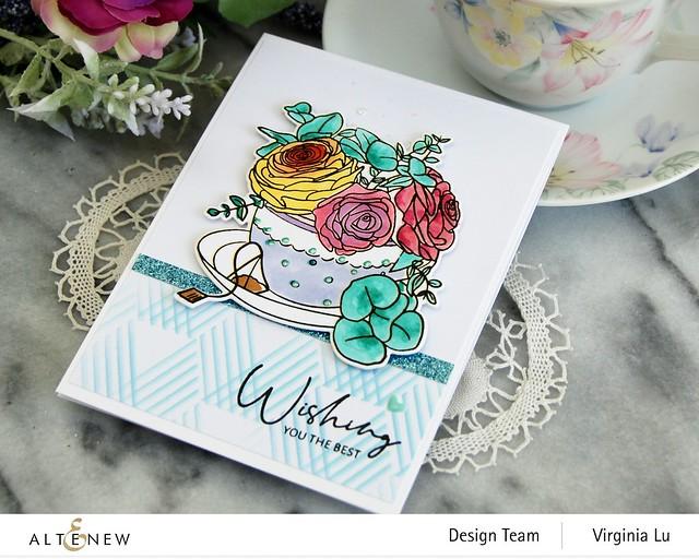 Altenew-Rose Tea Stamp -Rose Tea Die-Hexagon Illusions Stencil-Ocean Reflection Glitter Card Stock-001
