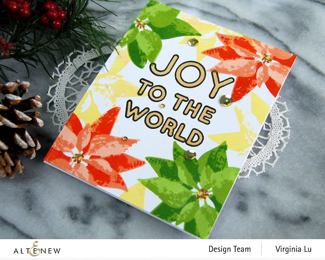 Altenew-DryBrush Poinsettia Stamp Set-Bird of The Woods Stamp & Die Bundle-Forest Canopy Glitter CardStock-Joy to the World Typography Stamp Set-002