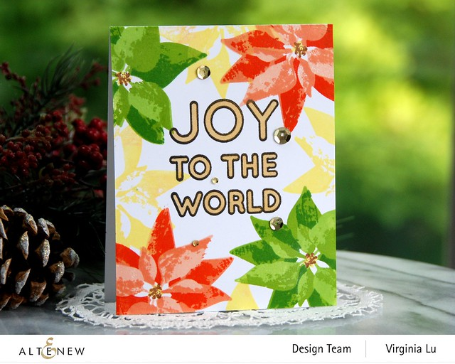 Altenew-DryBrush Poinsettia Stamp Set-Bird of The Woods Stamp & Die Bundle-Forest Canopy Glitter CardStock-Joy to the World Typography Stamp Set-001