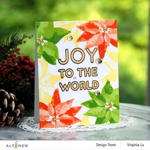 Altenew-DryBrush Poinsettia Stamp Set-Bird of The Woods Stamp & Die Bundle-Forest Canopy Glitter CardStock-Joy to the World Typography Stamp Set